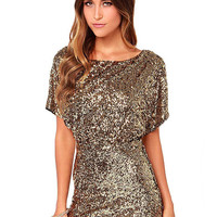 Gold Short Sleeve Split Back Sequin Dress With Cut Out Back