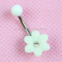 Belly Button Ring - White Sunflower