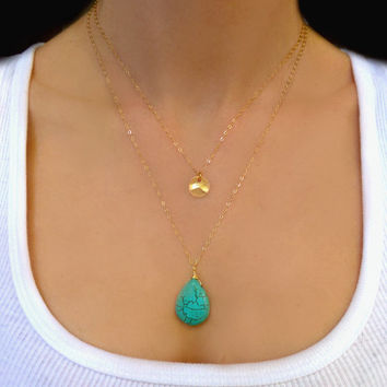 Multi Layered Turquoise Necklace -  Double Multi Strand Gold Disk Necklace - Long Layered Sterling Silver or Gold Disc Necklace Gift