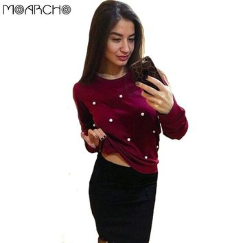MOARCHO Sweatshirts Women fashion elegant pearls beading Coat Casual Autumn winter Outfit Long Sleeve O-Neck Pullover Top