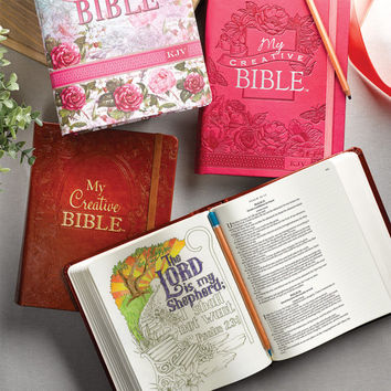 Journaling Bibles for Creative Faith Journaling - Pink Aqua Brown or Floral Cover - Religious gifts for him or her - Coloring Journal Bible