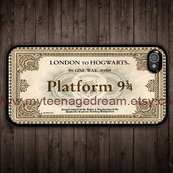 Hogwarts Express, iPhone 4 Case, iPhone 4s Case, Hogwarts Express Train Ticket pattern print black iPhone 4 Hard Case