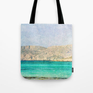 Art Tote Beach Bag At Sea 2 photography summer Fashion photo photograph Mediterranean texture ocean aqua sky blue beach nautical mountain