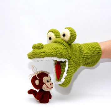 crochet alligator hand puppet and 3 monkeys finger puppets, amigurumi animals, autumn toys