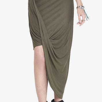 Loop Front Asymmetrical Skirt - Olive Green from EXPRESS