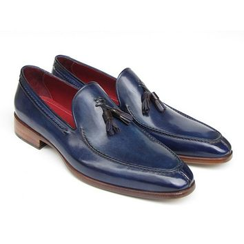 Paul Parkman Men's Tassel Loafer Blue Hand Painted Leather Shoes (Id#083)