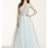 Heavily Beaded Strapless Tulle Prom Dress - Davids Bridal