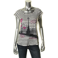 Style & Co. Womens Petites Jersey London Graphic Tunic Top
