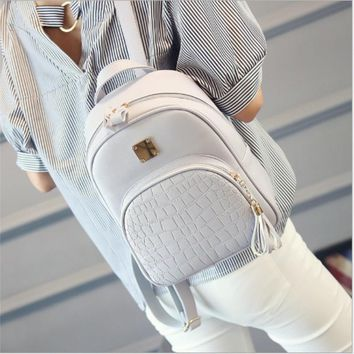 causal women Backpack School Bag For Teenagers girls Crocodile Pattern PU Leather Book Small Shoulder Bag / by dhl 50pcs