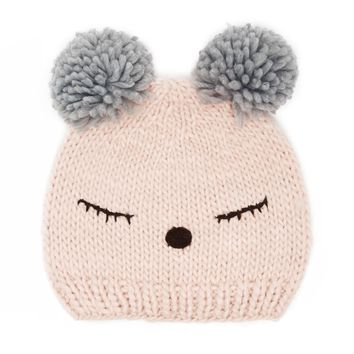 Sleep Face Pom-Pom Beanie