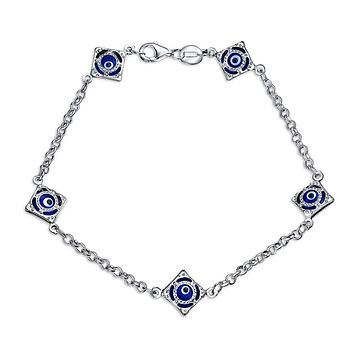 Turkish Navy Blue Evil Eye Charm Link Bracelet 925 Sterling Silver