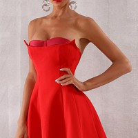 Party Over Here Red Strapless Sweetheart Satin Bustier Neckline Skater Circle A Line Flare Mini Dress