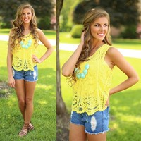 Graceful in Lace Top in Yellow