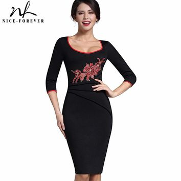 Nice-forever Stylish Applique Flower embroidery Casual Work 3/4 Sleeve Wide O-Neck Bodycon Women Office Pencil Slim Dress B340