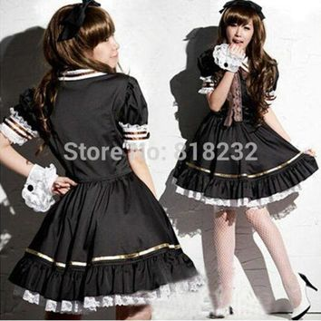 ONETOW Lolita Princess Lace Dress Maid Outfit Cosplay Costumes School Uniform S M L XL