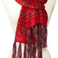 Nine West Women's Pebble Stitch Muffler, Red, One Size