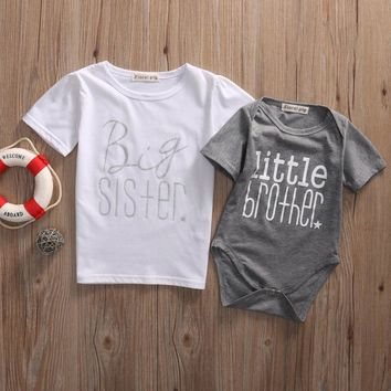 Infant Baby Boys Little Brother Romper Kids Big Sister T shirt Matching Clothes Outfits Big sis for2-7T Little Bro for0-18M
