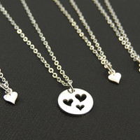 Mother Daughter Jewelry Set. Mother Child.1 2 3 Heart Necklace. Sterling Silver. Mother's Day Gift. Mom Jewelry. Mother Daughter Necklace