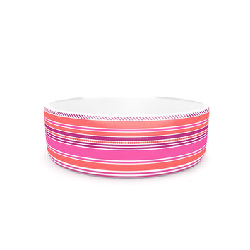 "Nandita Singh ""Pink Ribbons"" Blush Purple Pet Bowl"
