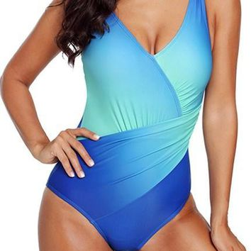 Chic Blue Ombre Tie Dye Wrap Front Teddy Swimsuits