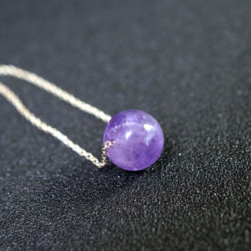 Sterling Silver Amethyst Choker - Simple Gold Filled Amethyst Necklace - Single Amethyst February Birthstone - 10mm Amethyst