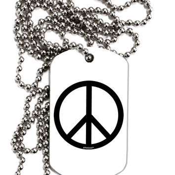 Peace Sign Symbol Adult Dog Tag Chain Necklace