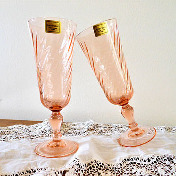 2 Rosaline Pink Swirl Optic Fluted Champagne Glasses, Cristal D'Arques-Durand Made in France, Pink Depression Glass Champagne Flutes, NOS