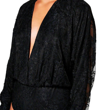 Black Plus Size Wrap Front Lace Bodysuit