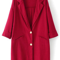 Red Notched Collar Half Sleeve Buttons Pockets Blazer