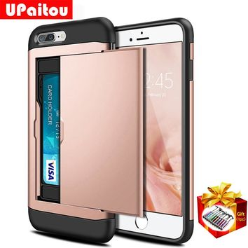 UPaitou Shockproof Armor Case for iPhone 8 Plus 8Plus Wallet Case Card Holder Bumper Coque Cover for iPhone 8 Plus 8Plus Case