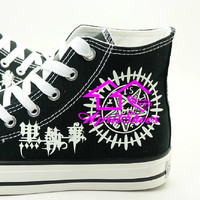 Kuroshitsuji Contract Symbol Shoes, Custom Painting Canvas Sneakers with Black Butler Symbol, Not Converse