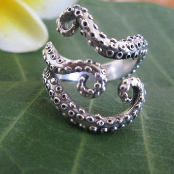 Sterling silver octopus ring silver tentacle silver jewelry silver ring octopus jewelry tentacle jewelry sterling silver octopus ring