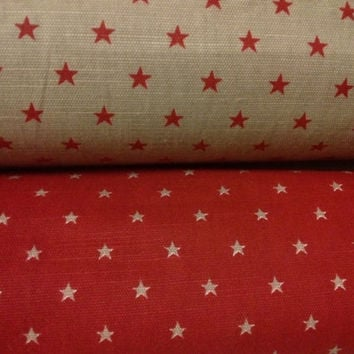 Christmas Tablecloth beige burgundy red small stars Scandinavian Design , runner , napkins , pillow , curtains available, great GIFT
