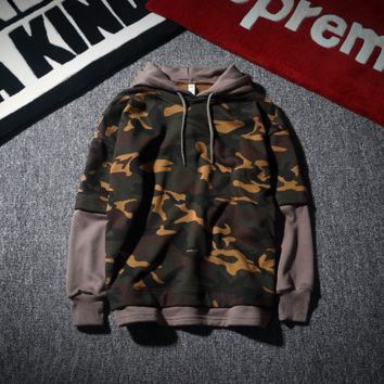 Sweatshirt Men Hooded Hooded Loose Tide Student Autumn / Winter Camouflage Hoodie Coat