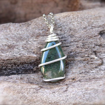 Moss Agate Necklace - Wire Wrapped Stone Jewelry - Moss Agate Jewelry - Healing Stone - Gypsy Necklace - Boho Jewelry - Wiccan Necklace