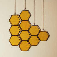 Stained Glass Honeycomb Drops (set of 4)