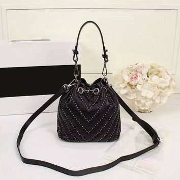 new arrive striped bucket studs real leather strap handbags classic high quality shoulder bags caviar womens evening bag