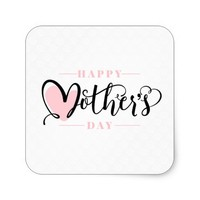 Modern Blush Pink Heart Happy Mother`s Day Square Sticker