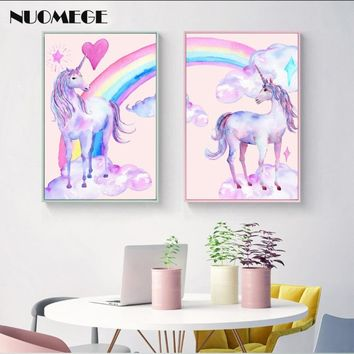 Pink Unicorn Rainbow Painting Watercolor Pegasus Posters and Prints Nordic Cute Wall Art Picture Kids Children Room Decoration