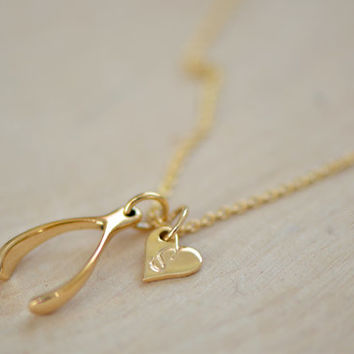 Shop tiny gold disc necklace on wanelo tiny gold wishbone necklace heart initial disc charm personali aloadofball Image collections
