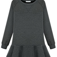 Grey Long Sleeve Peplum Detail Sweatshirt Dress