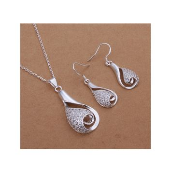 Teardrop Necklace Earrings Set Silver Plated Crystal Jewelry Sets