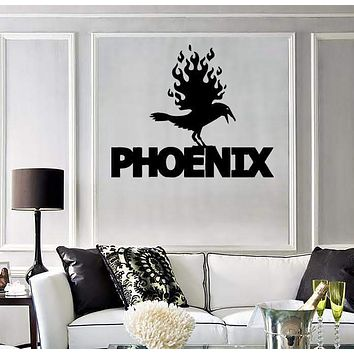 Wall Stickers Vinyl Decor Phoenix Fire Bird Mythical Fantasy Murals Unique Gift (ig227)