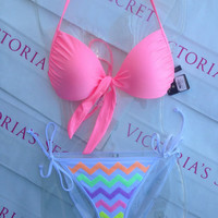 New Sexy Victoria's Secret Swimsuit Shimmer Pink Halter Top Bikini Set L
