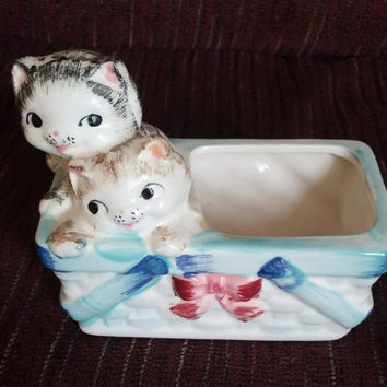 Vintage kittens in basket planter trinket box Hand painted Japan kitty cat FREE shipping