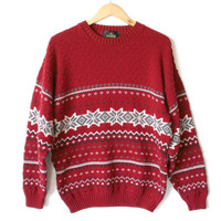 Red Nordic Snowflake Nubby Ski / Ugly Christmas Sweater