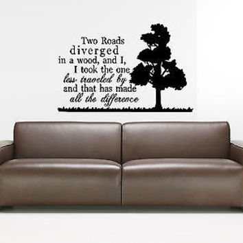 The Road Less Traveled quote wall sticker quote decal wall art decor 4186