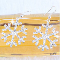 Valentines gifts Fashion luxury Full Shiny transparent rhinestone snowflakes Crystal earrings for women jewelry E122