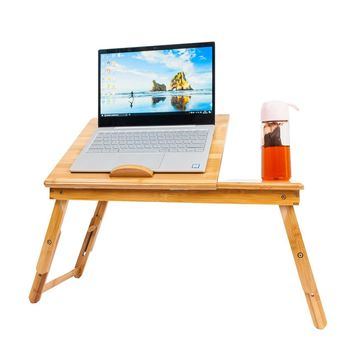 Bamboo Adjustable Laptop Desk with Cup Stand for bed, sofa, lap, table, etc.