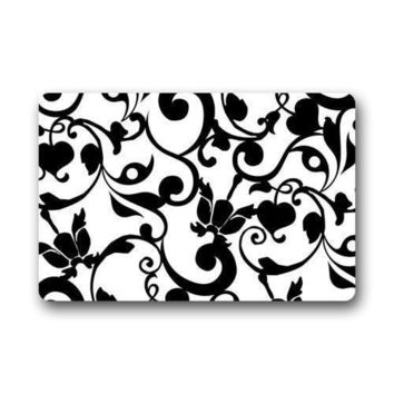 Fantastic Doormat Black and White Damask Pattern French Floral Swirls Door Mat Rug Mats Bedroom Doormat